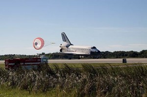 Space shuttle Atlantis lands on runway 33 at NASA Kennedy Space Center's Shuttle Landing Facility concluding the STS-129 mission. Photo credit: NASA Jack Pfaller