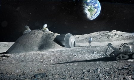 Lunar base made with 3D printing node full image