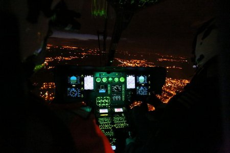 Inside the aircraft during night flight