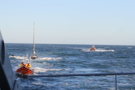PR290616 Royal Navy photo of 2 lifeboats and yacht